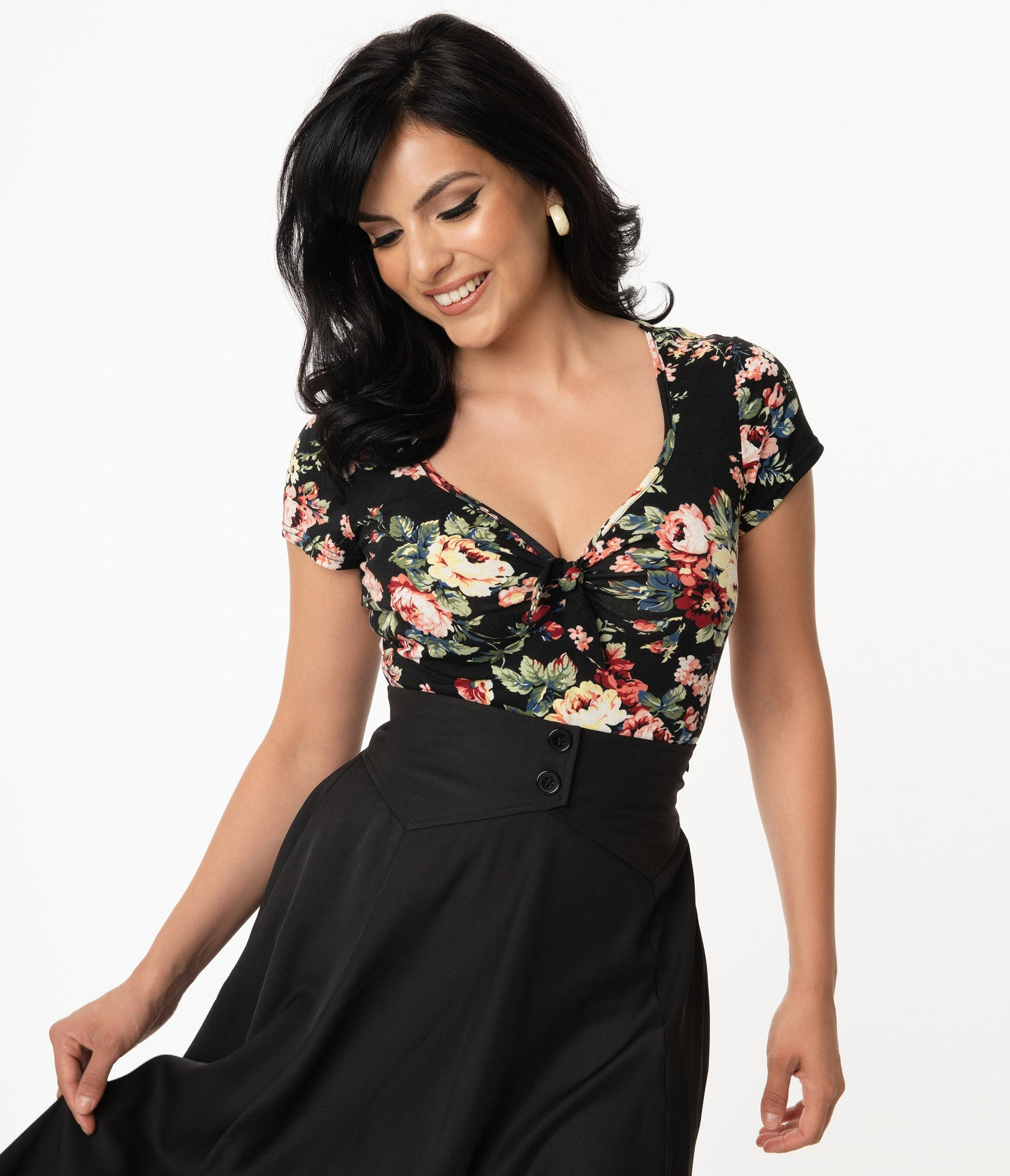 Black & Rose Print Sweetheart Rosemary Top