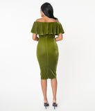 Unique Vintage Olive Velvet Sophia Wiggle Dress