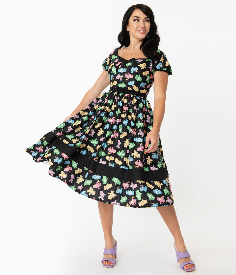 Care Bears x Unique Vintage Playtime Print Hannah Swing Dress