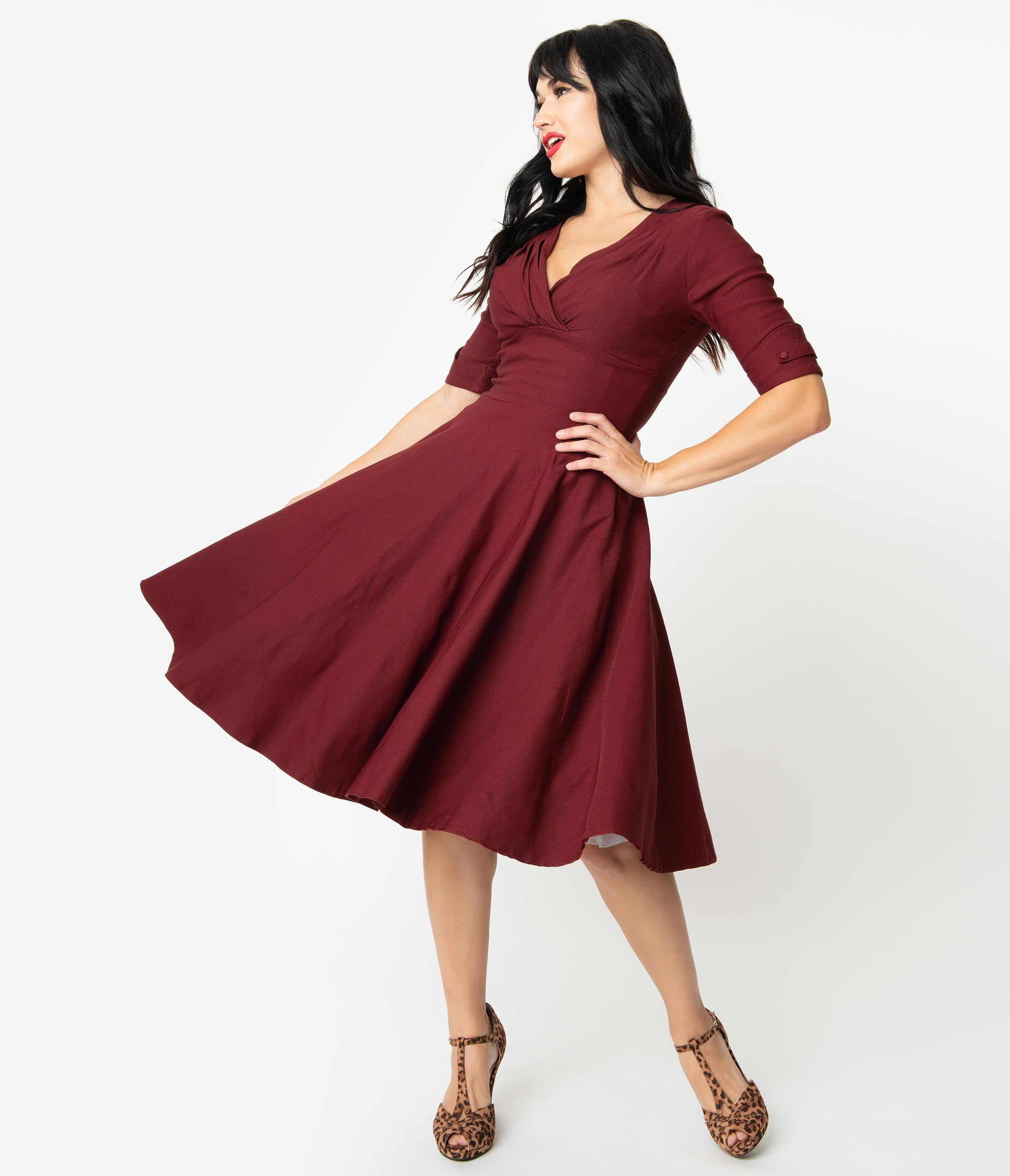 Rockabilly Dresses | Rockabilly Clothing | Viva Las Vegas Unique Vintage 1950S Burgundy Red Delores Swing Dress With Sleeves $88.00 AT vintagedancer.com