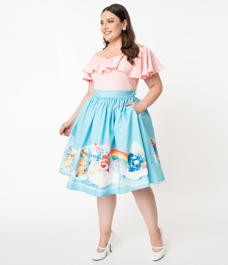 Care Bears x Unique Vintage Plus Size In The Clouds Gellar Swing Skirt