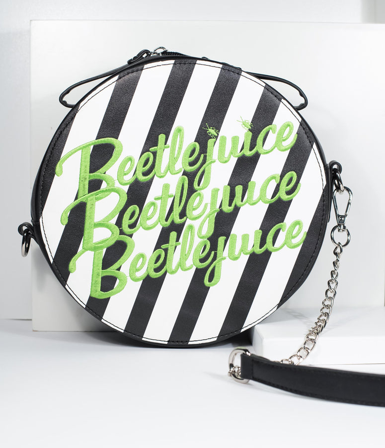 Beetlejuice x Unique Vintage Black & Green Stripe Crossbody