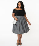 Plus Size Grey Constellation Print Gathered Swing Skirt