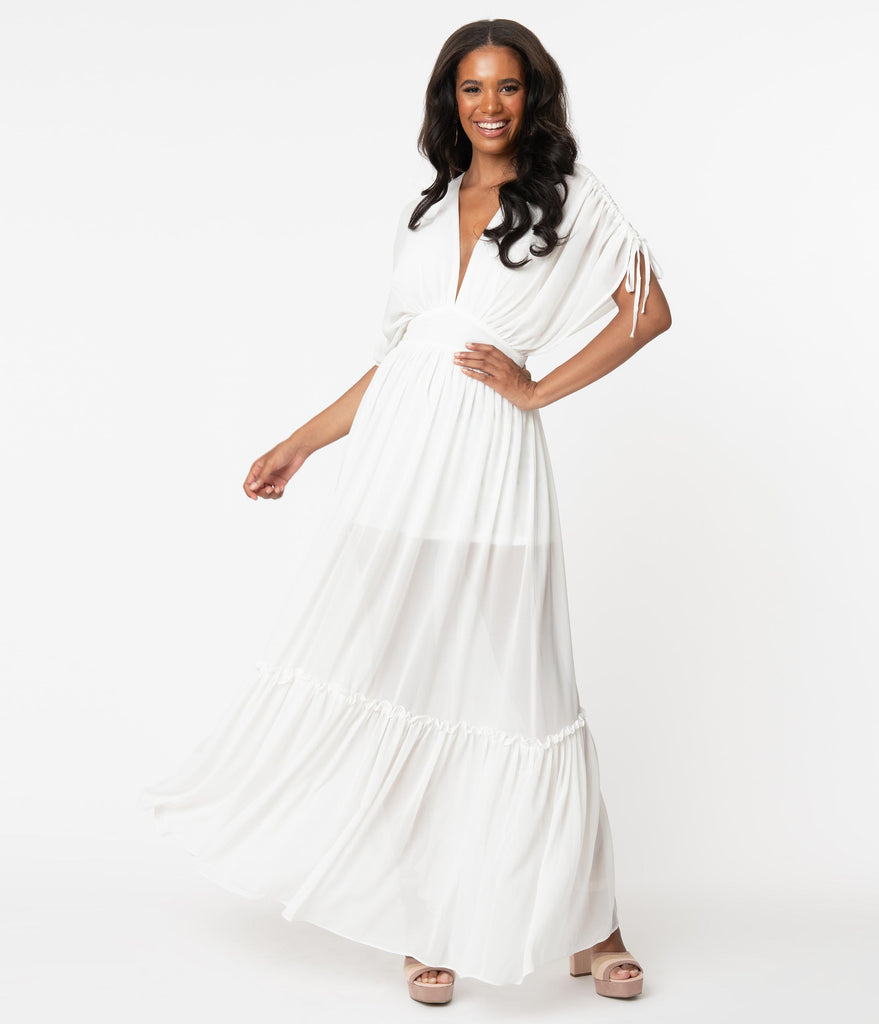 Retro Style Ivory Ruched Maxi Dress
