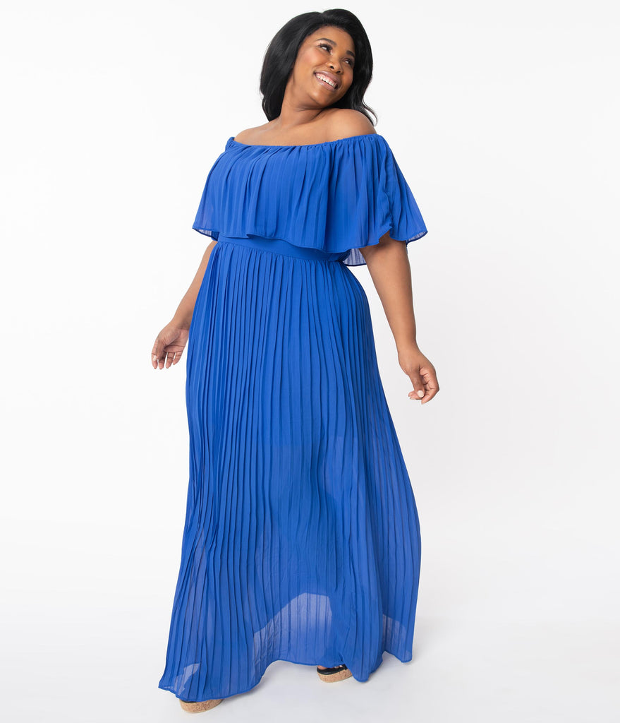 Plus Size Royal Blue Off Shoulder Pleated Maxi Dress