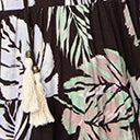 1970s Style Black Tropical Print Maxi Dress