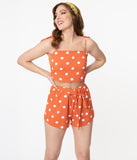Orange & White Polka Dot Crop Top & Short Set