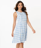 Blue & White Gingham Casual Tunic Dress