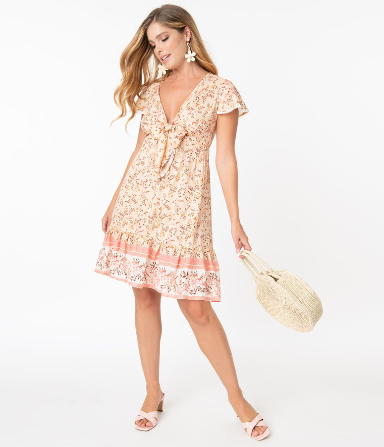 Retro Style Pink Floral Print Summer Fit & Flare