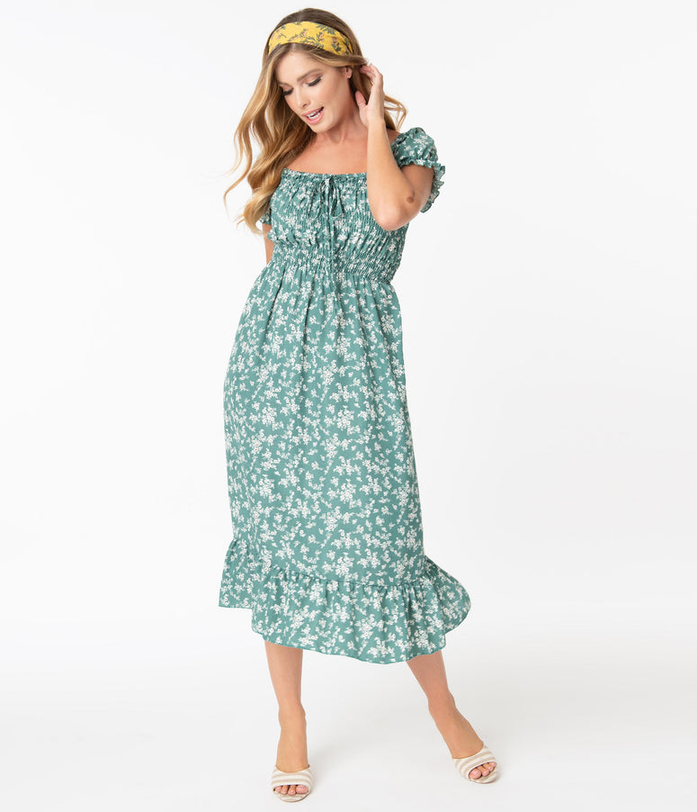 Vintage Style Green & Ivory Floral Print Midi Dress