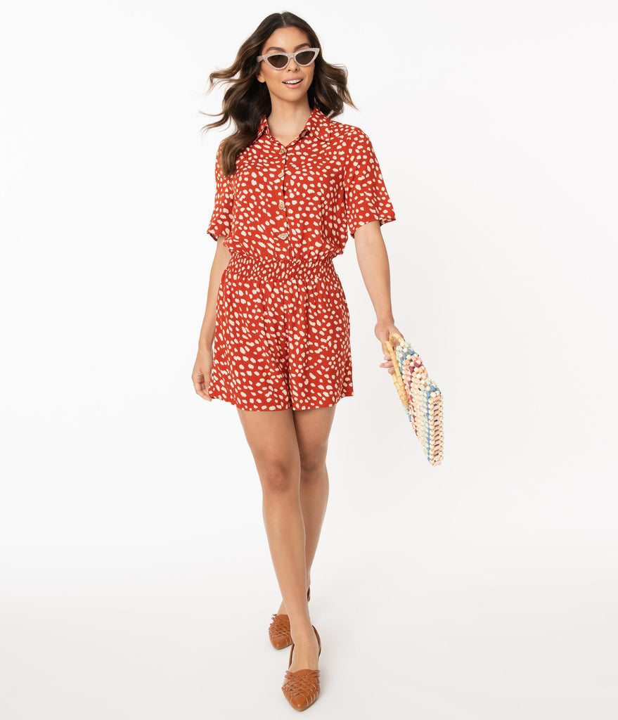 Retro Style Rust Red & Ivory Speckled Print Romper