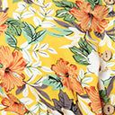 1960s Style Yellow & Orange Tropical Floral Fit & Flare Dress