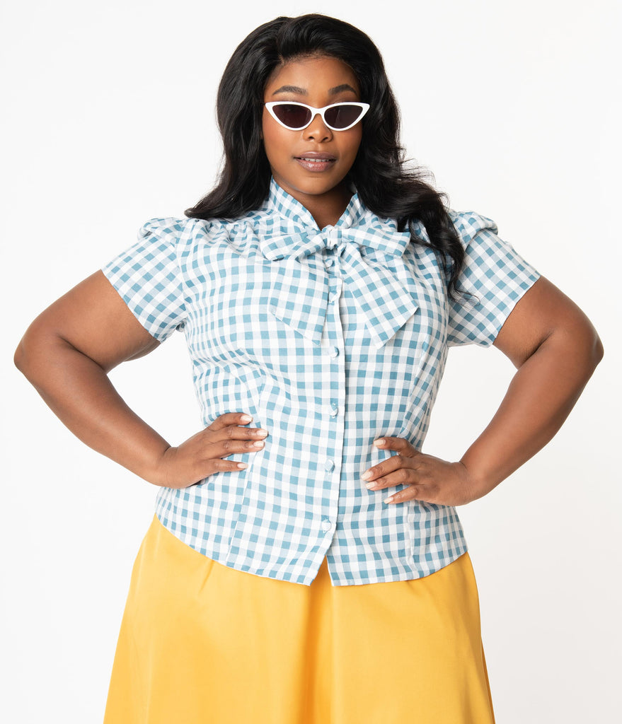 Plus Size Dusty Blue & White Gingham Bow Blouse