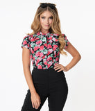 Black & Red Strawberry Print Bow Blouse