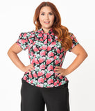 Plus Size Black & Red Strawberry Print Bow Blouse