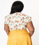 Plus Size Cream & Happy Floral Print Bow Blouse