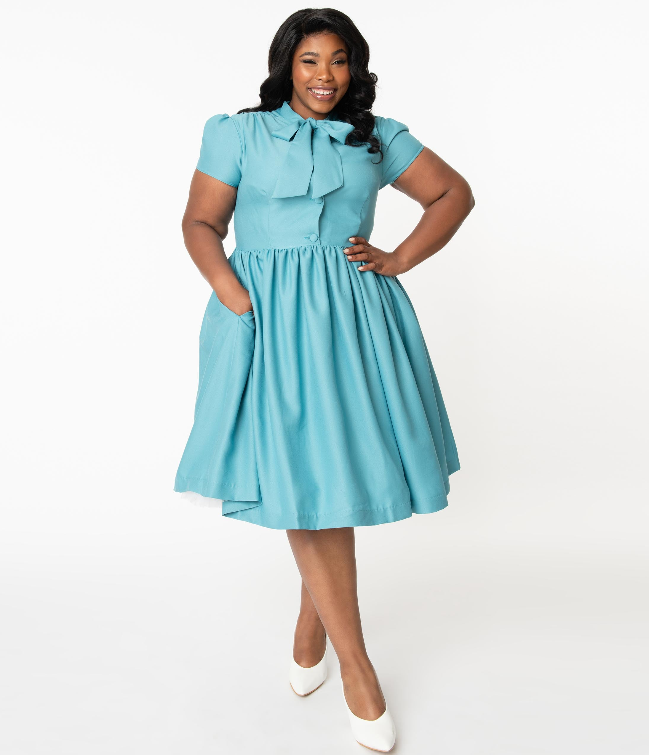 Vintage 50s Dresses: Best 1950s Dress Styles Plus Size 1950S Style Sky Blue Estelle Swing Dress $88.00 AT vintagedancer.com