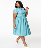 Plus Size 1950s Style Sky Blue Bow Swing Dress