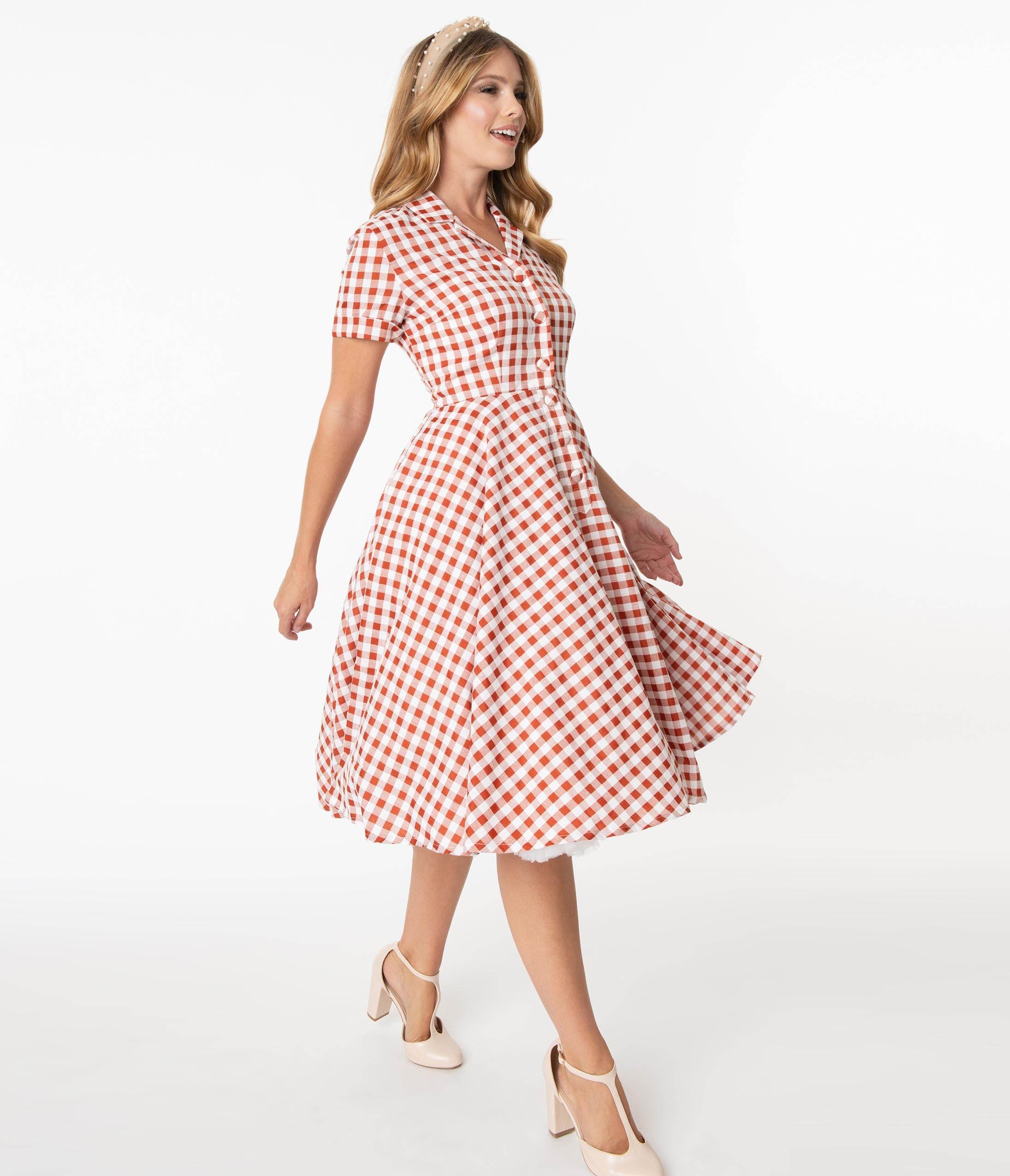 Swing Dance Dresses | Lindy Hop Dresses & Clothing 1950S Rust Red  White Gingham Caterina Swing Dress $88.00 AT vintagedancer.com