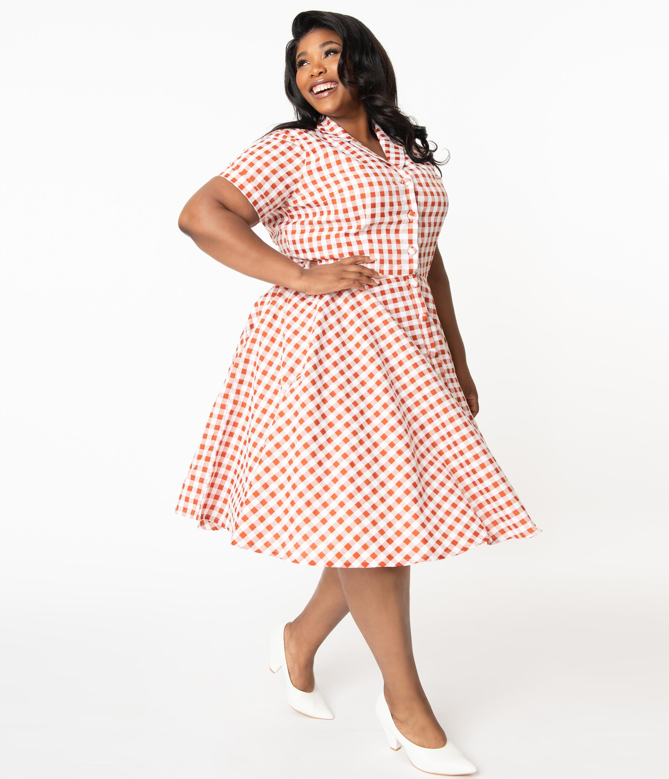 Vintage 50s Dresses: Best 1950s Dress Styles Plus Size 1950S Rust Red  White Gingham Caterina Swing Dress $88.00 AT vintagedancer.com