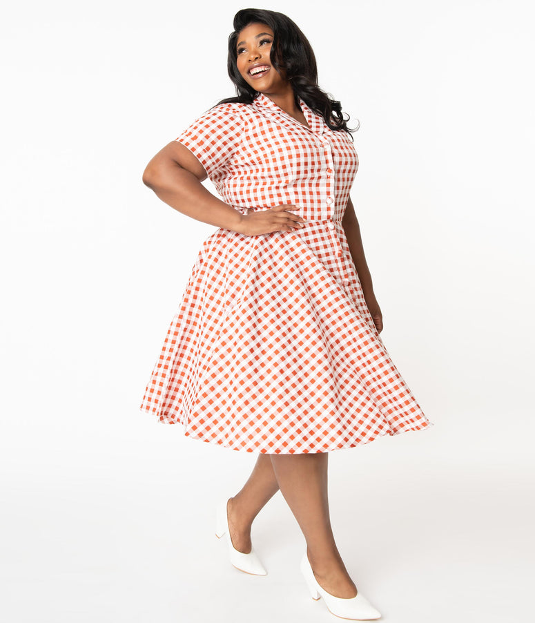 Magnolia Place Plus Size 1950s Rust Red & White Gingham Caterina Swing Dress