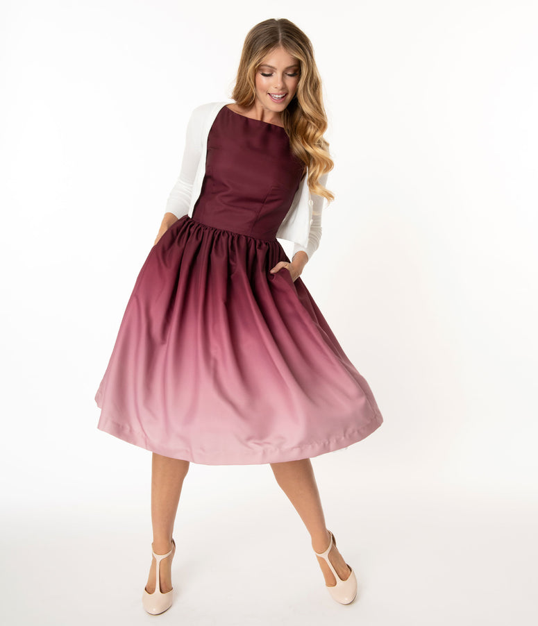 Magnolia Place Burgundy Ombre Audrey Swing Dress