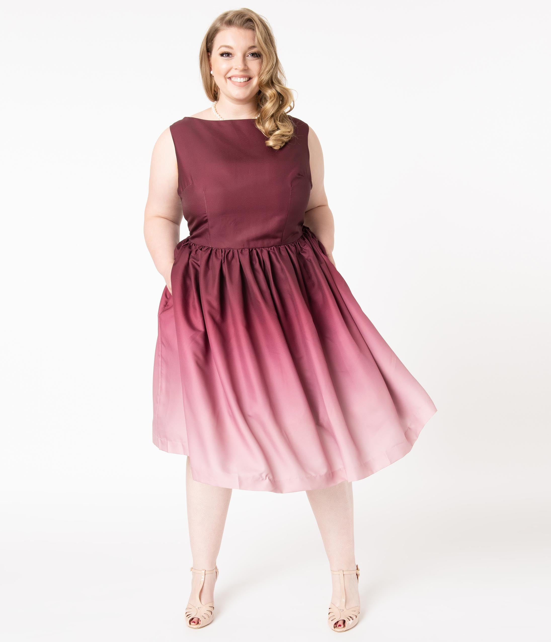 Vintage Evening Dresses and Formal Evening Gowns Plus Size Burgundy Ombre Audrey Swing Dress $98.00 AT vintagedancer.com
