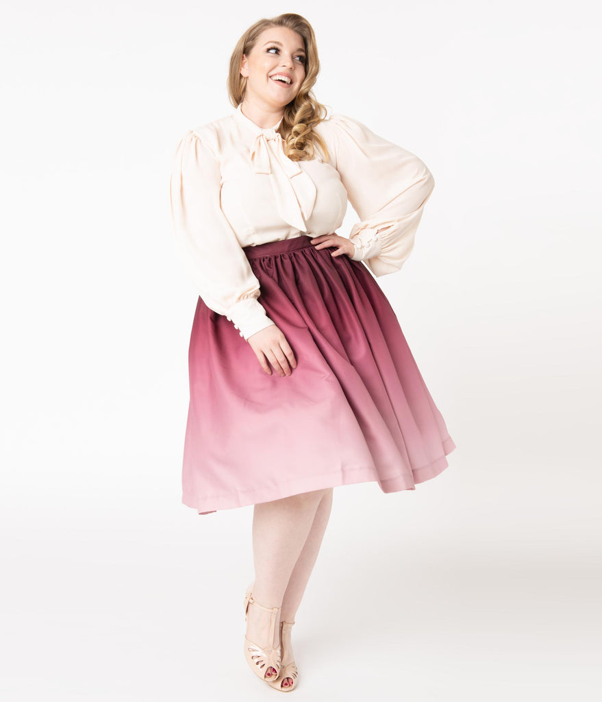 Plus Size Burgundy Ombre Gathered Swing Skirt