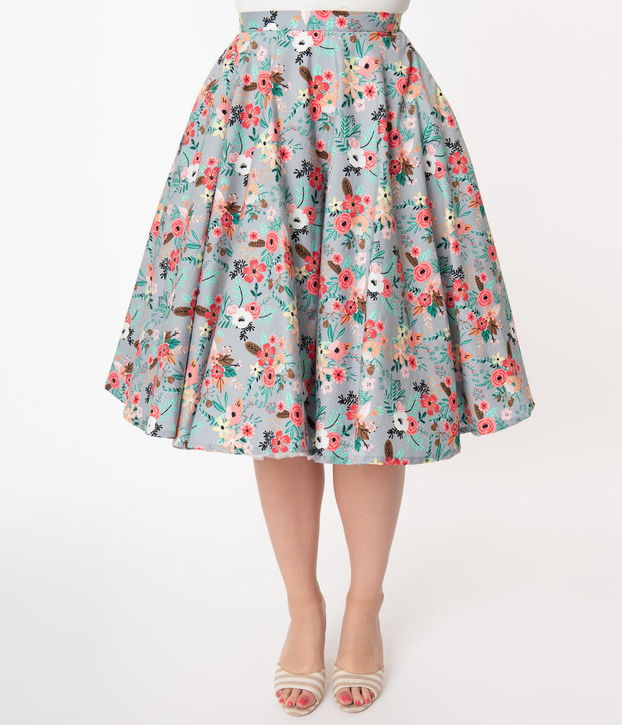 Grey & Happy Floral Print Swing Skirt