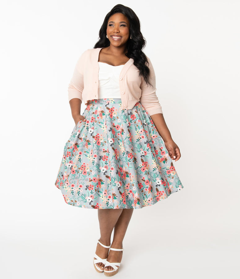 Plus Size Grey & Happy Floral Print Swing Skirt