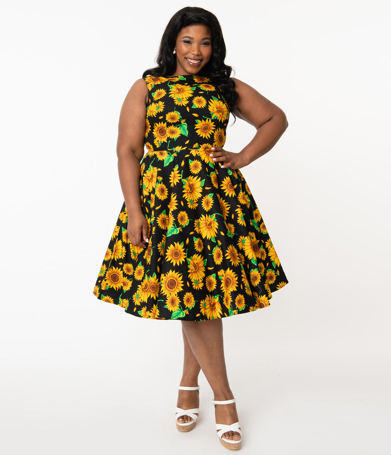 Plus Size Black & Yellow Sunflower Audrey Swing Dress