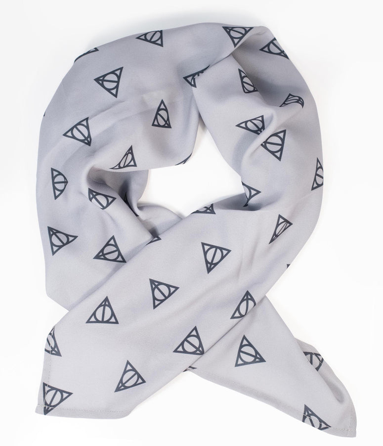 Harry Potter x Unique Vintage Deathly Hallows Print Hair Scarf