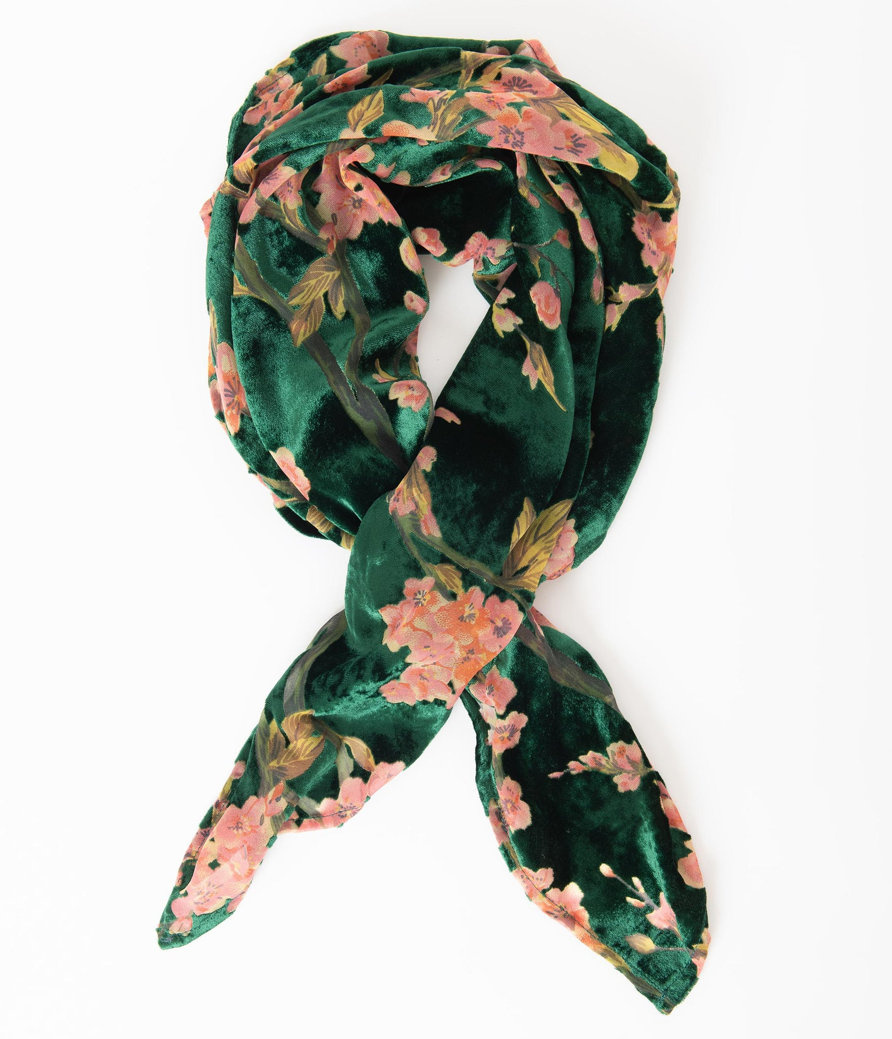 Unique Vintage Pin-Up Emerald & Pink Floral Velvet Hair Scarf
