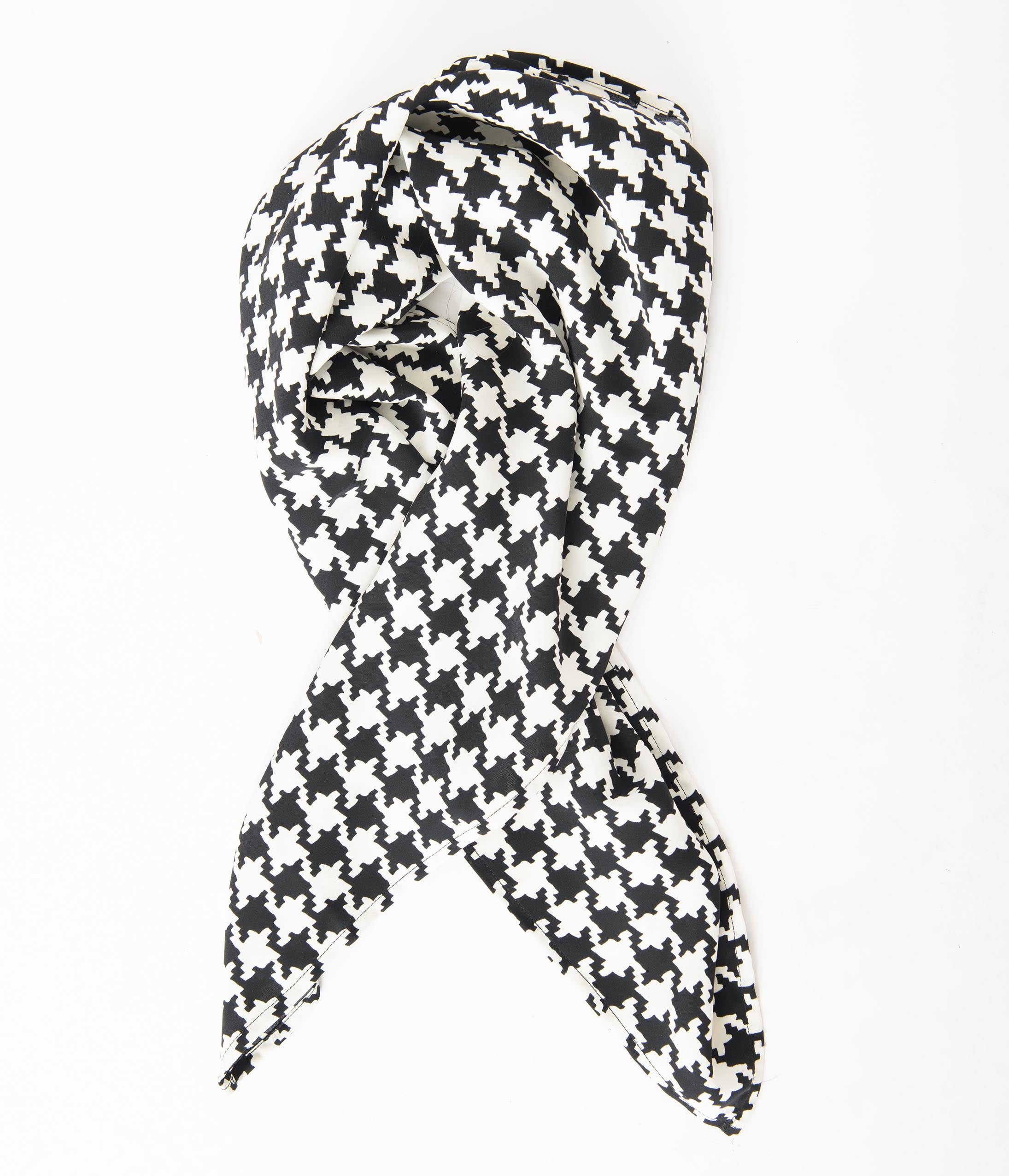 50s Hair Bandanna, Headband, Scarf, Flowers | 1950s Wigs Unique Vintage Pin-Up Black  White Houndstooth Hair Scarf $14.00 AT vintagedancer.com