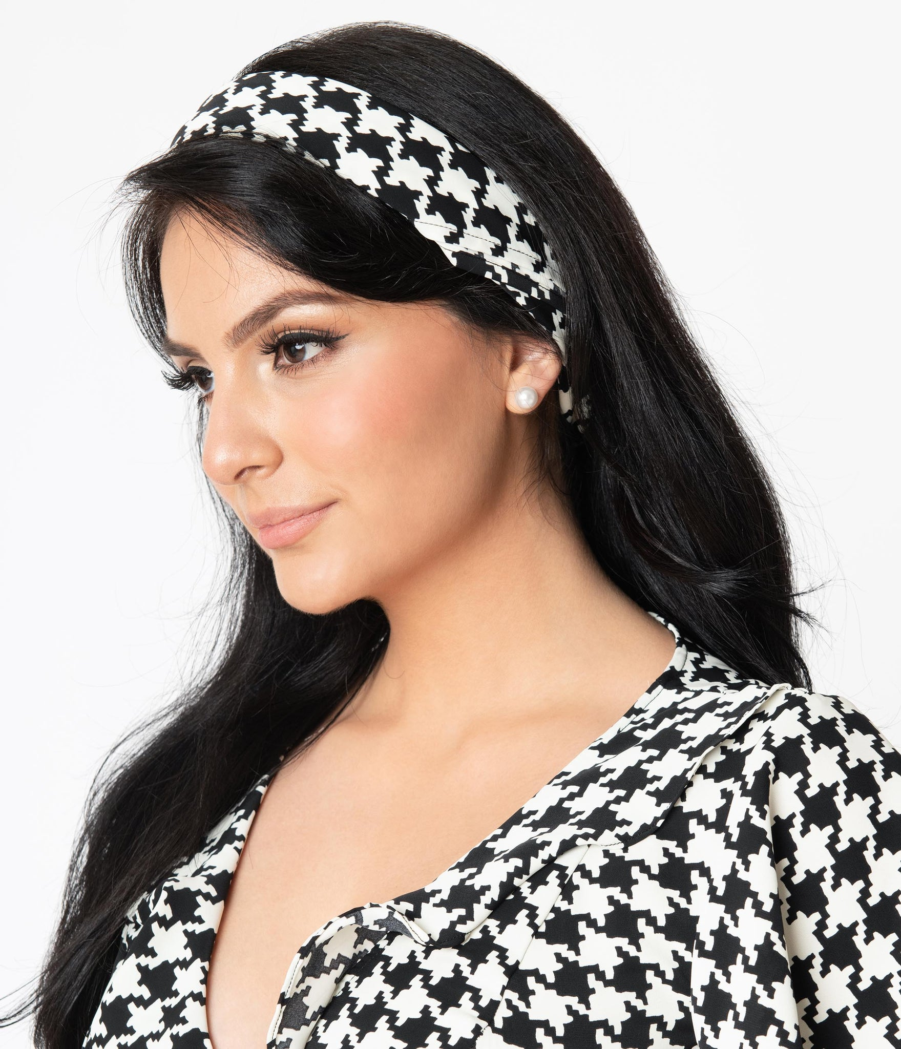 Unique Vintage Pin-Up Black & White Houndstooth Hair Scarf