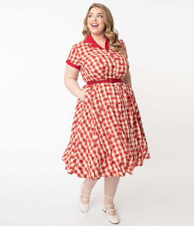 Unique Vintage Plus Size Red Gingham & Strawberry Print Alexis Swing Dress