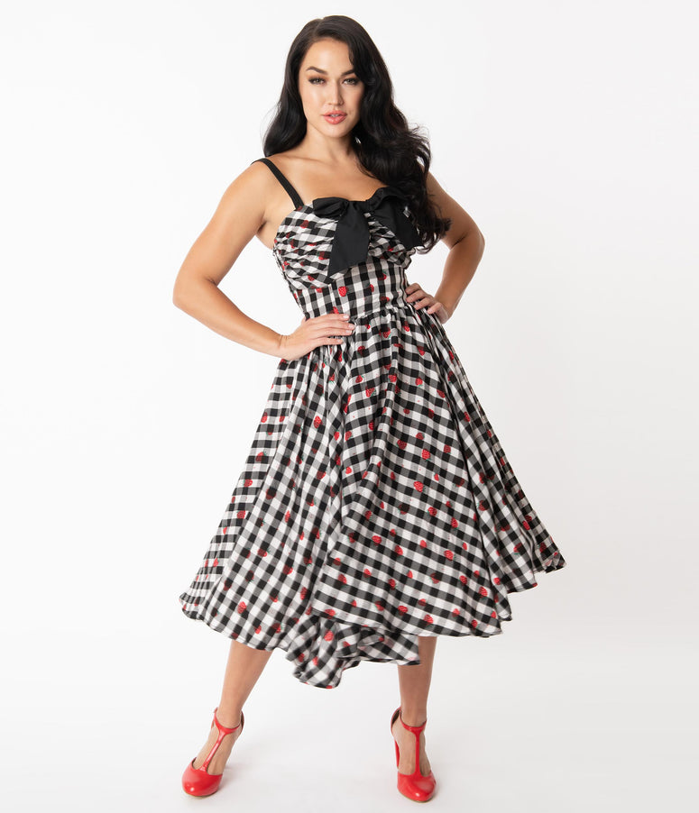 Unique Vintage 1950s Black Gingham & Strawberry Golightly Swing Dress