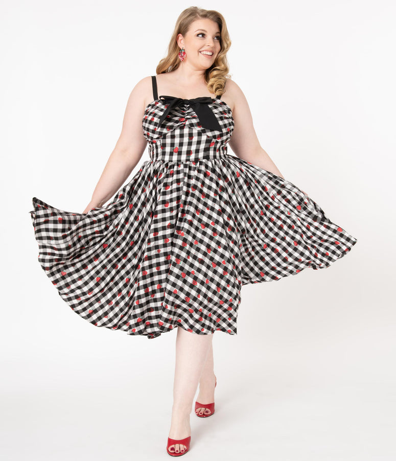 Unique Vintage Plus Size 1950s Black Gingham & Strawberry Golightly Swing Dress
