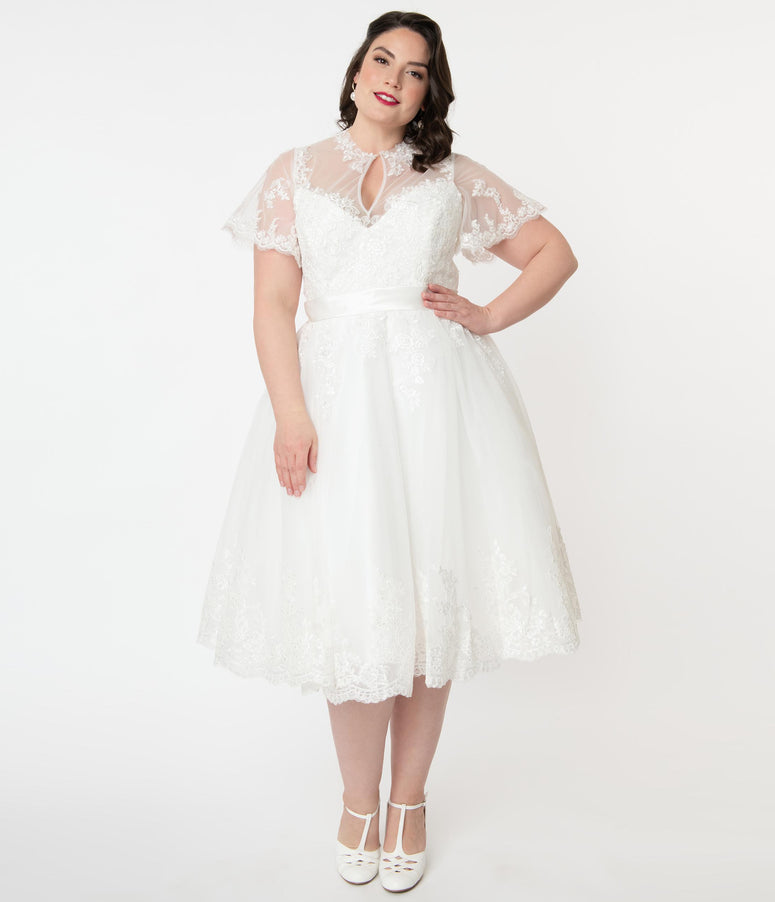 Unique Vintage Plus Size Off White Lace Nico Bridal Swing Dress