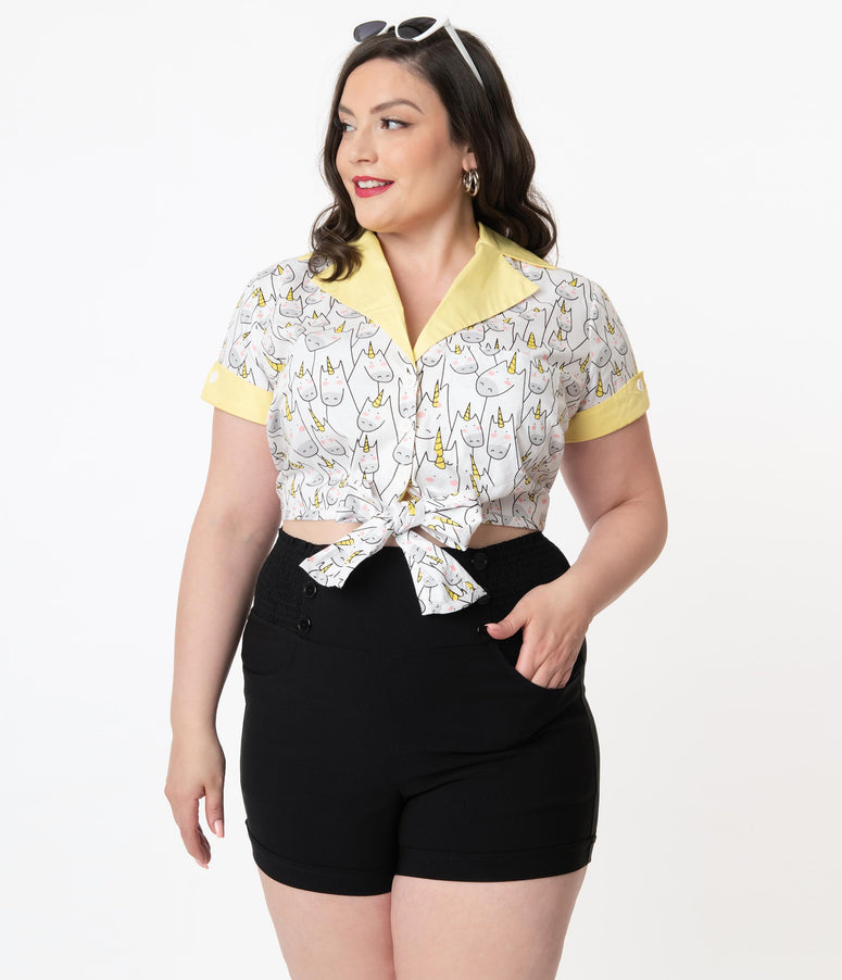 Unique Vintage Plus Size Unicorn Doodle Print Shirley Crop Top