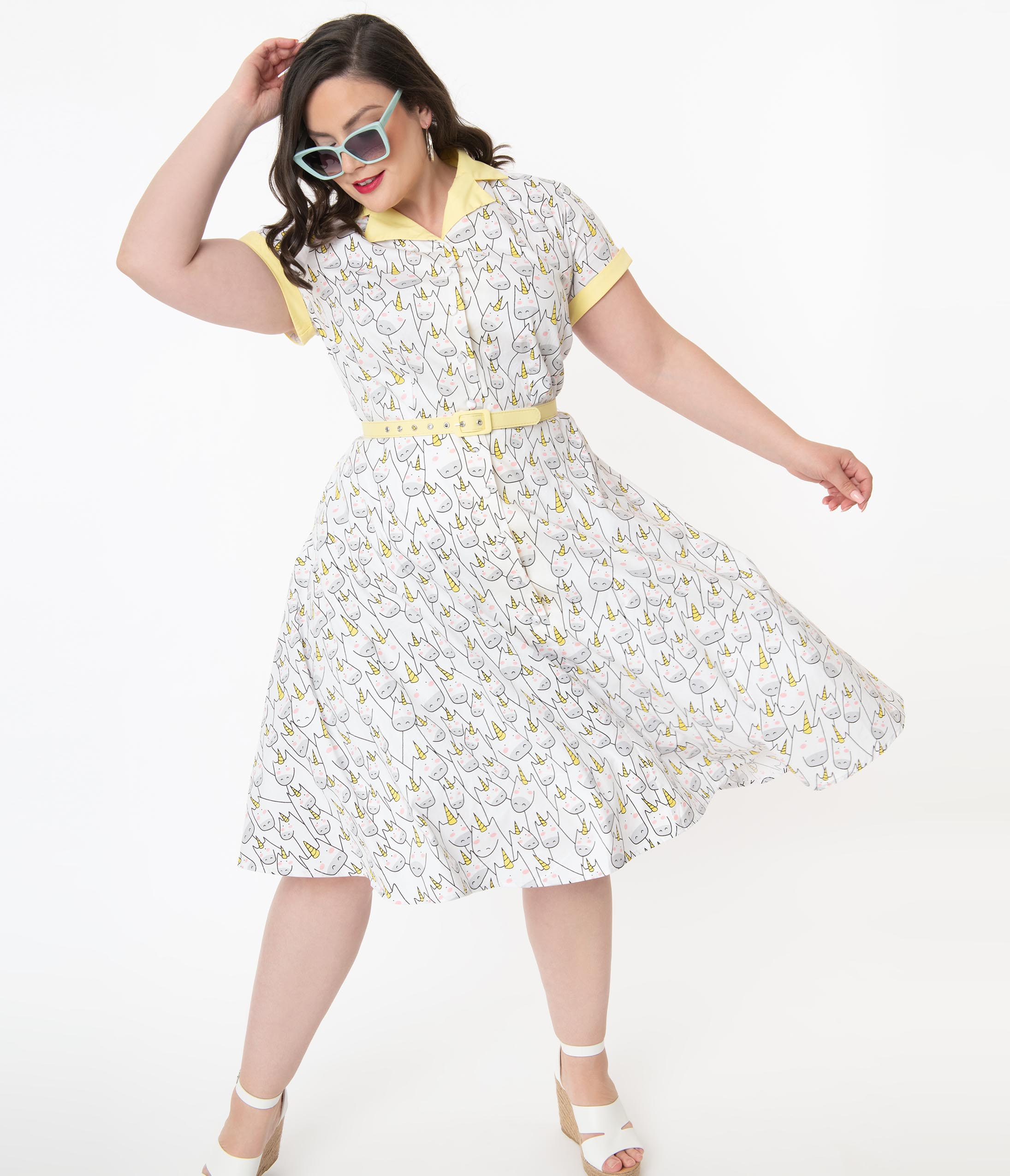 1950s Plus Size Dresses, Swing Dresses Unique Vintage Plus Size Unicorn Doodle Print Alexis Swing Dress $78.00 AT vintagedancer.com