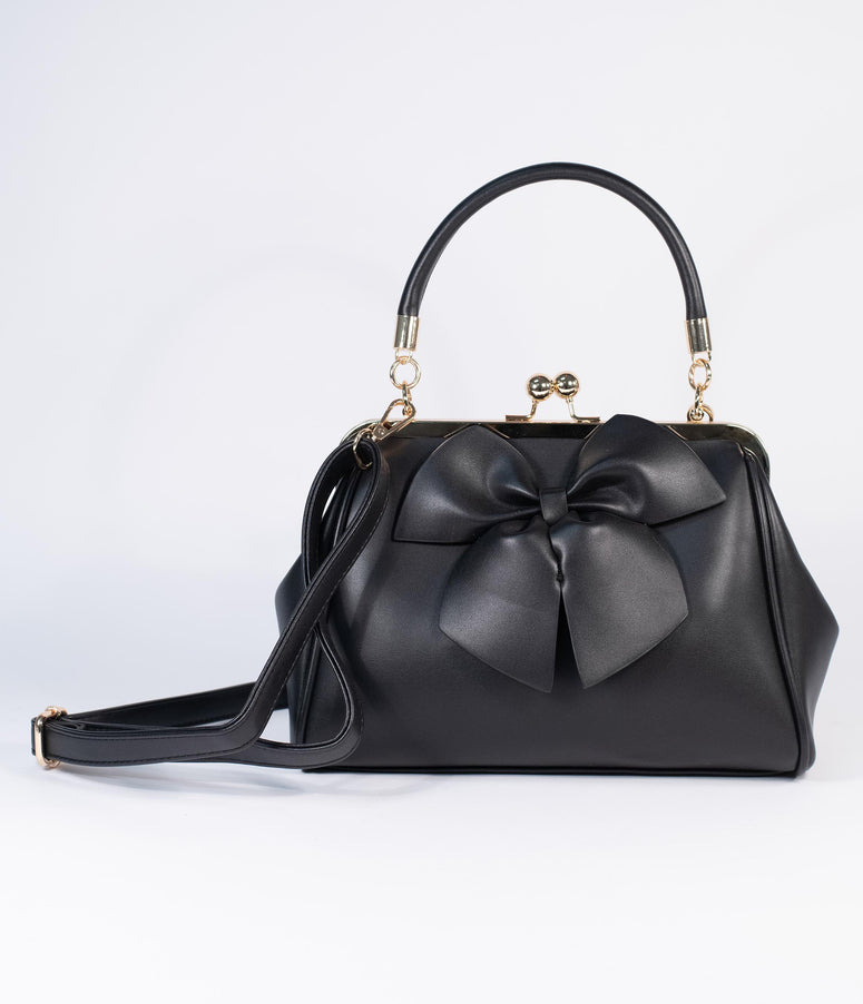 Black Leatherette Bow Lockwood Handbag
