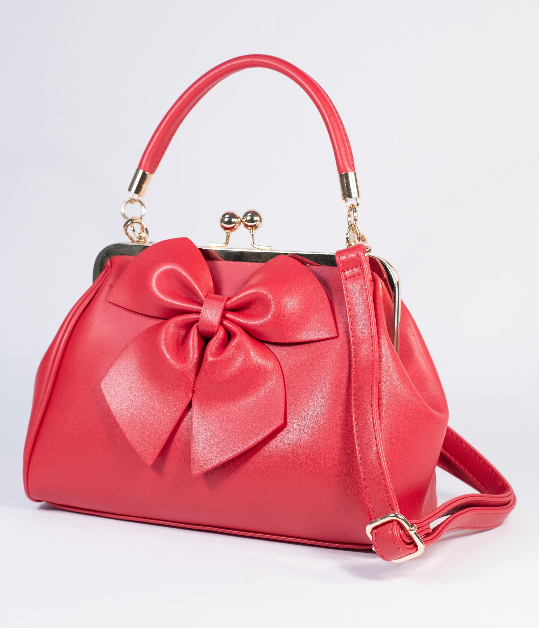 Red Leatherette Bow Lockwood Handbag