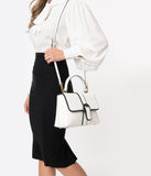 Vintage Style White Leatherette Far Out Handbag