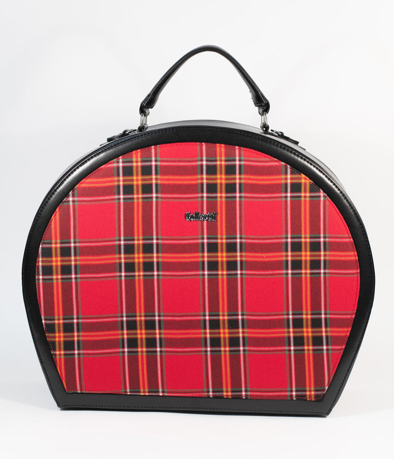 Collectif Berry Red Plaid Tammy Travel Bag