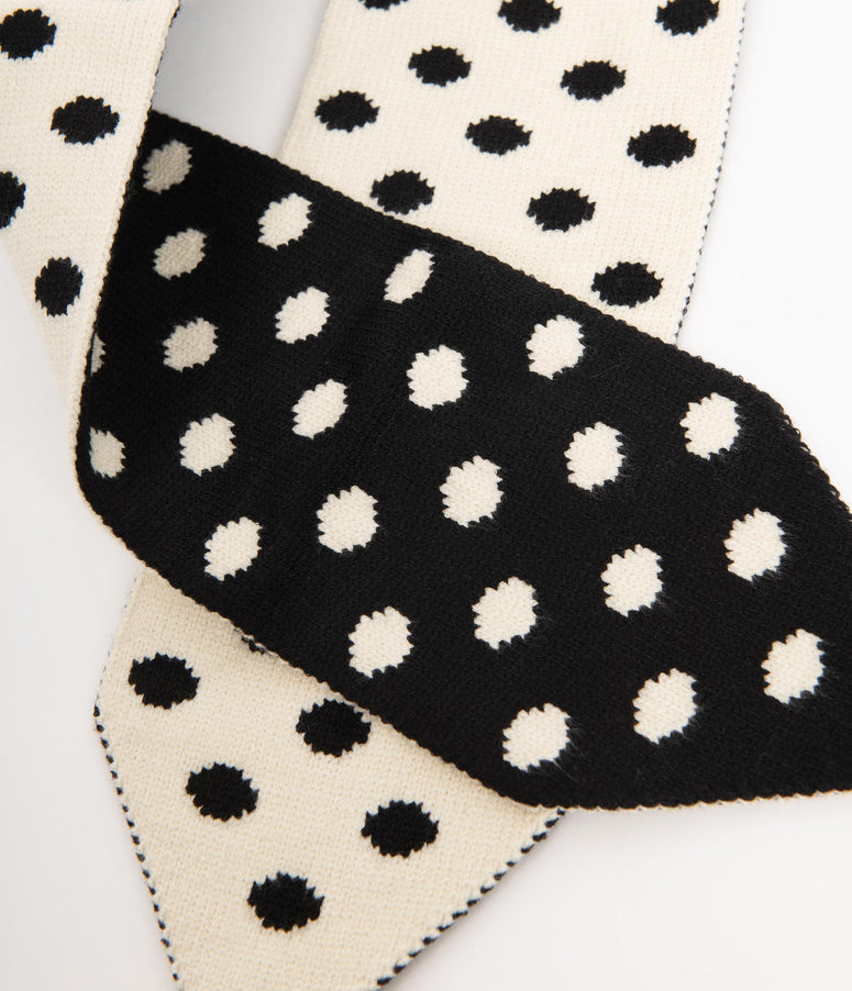 Collectif Black & White Polka Dot Sharon Scarf