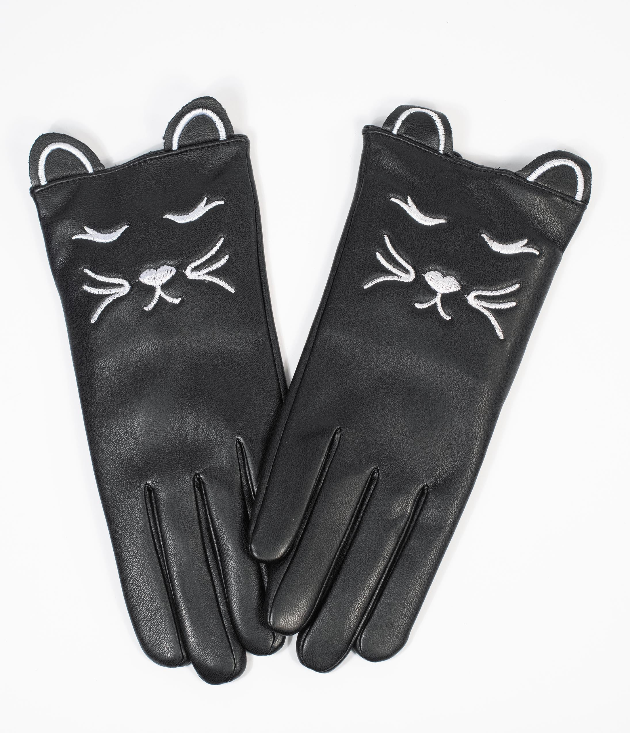 Vintage Gloves History- 1900, 1910, 1920, 1930 1940, 1950, 1960 Collectif Black Leatherette Cat Gloves $36.00 AT vintagedancer.com