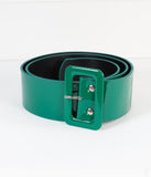 Collectif Green Patent Leatherette Sally Buckle Belt
