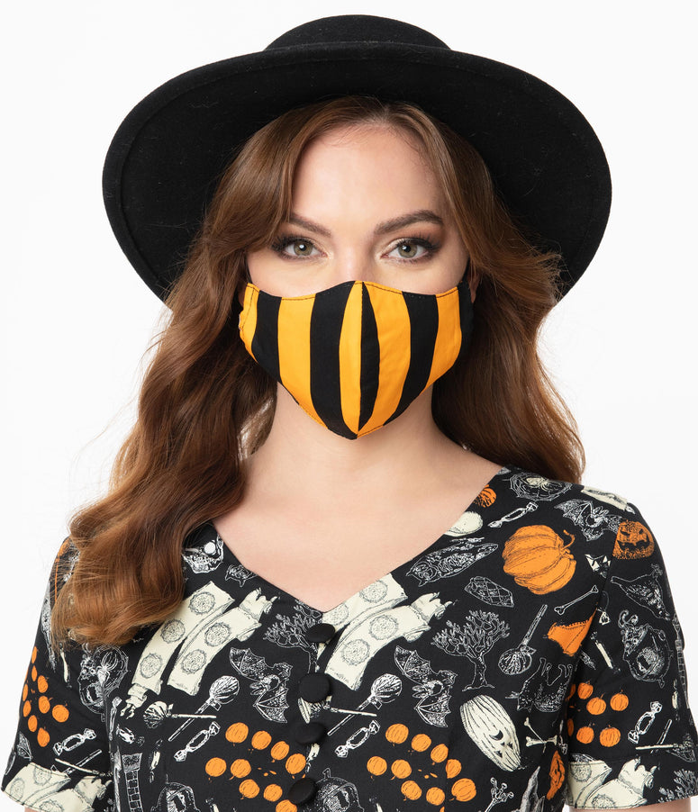 Orange & Black Stripe Face Mask