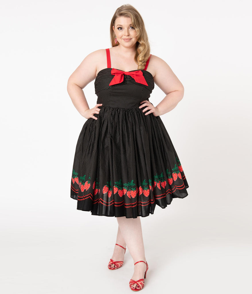 Unique Vintage Plus Size Black & White Pin Dot Strawberry Border Golightly Swing Dress
